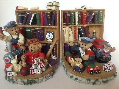 Teddy Bear Ceramic  Bookends Trains, Bears And Books