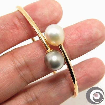 Tahitian & South Sea Pearl Bangle In Sterling Silver +18K Gold Plating #b342