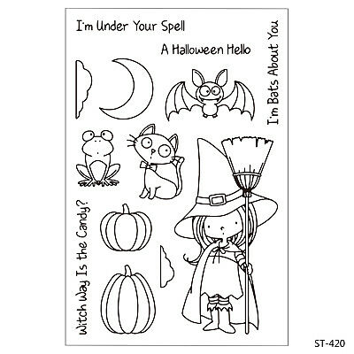 Halloween Girl Clear Stamps for DIY Decor Scrapbook Card Marking Supplies Craft