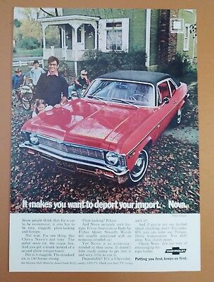 1969 Chevrolet Chevy Red Nova Car Auto Original Vintage Print Ad
