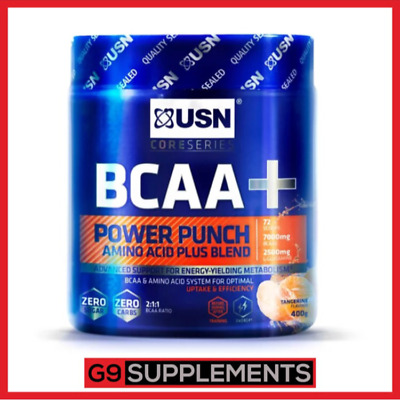 USN BCAA+ Power Punch 400g - BCAA Amino Acid Powder Supplement (All Flavours!)