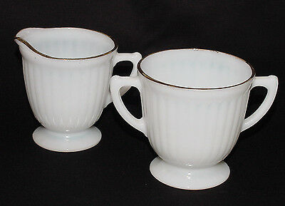 "PERFECT Vintage Gold-Trimmed Monax ""PETALWARE"" Creamer & Sugar Bowl!!"