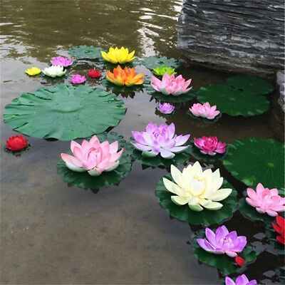 Artificial Fake Lotus Water lily Floating Flower Plant Garden Pool Ornament new