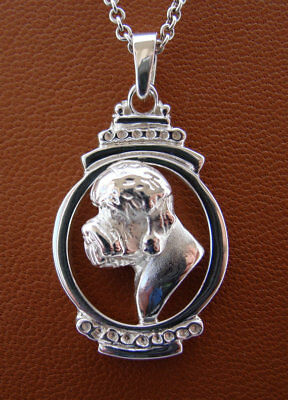Sterling Silver Dandie Dinmont Terrier Head Study Pendant On A Vertical Oval Fra