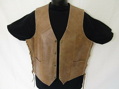 Himalaya Leather Vest,  Size 42 Medium Tan Vest By Himalaya Motor Bike Wear.