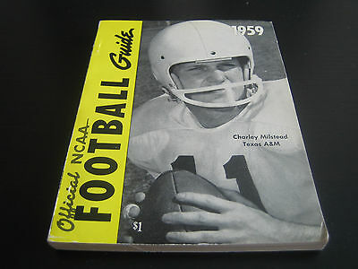 1959 Official Ncaa Football Guide ***charley Milstead Texas A&m***