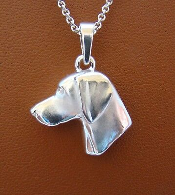 Sterling Silver Weimaraner Head Study Pendant
