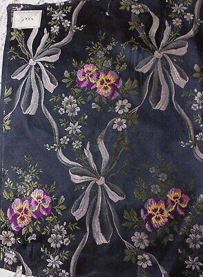Antique c1840-1860 French Silk Jacquard Pansies, Ribbon & Bows Home Dec Fabric