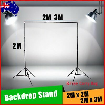 Photography Photo Screen Background Support Stand Kit Backdrop Black 2M 3M ON