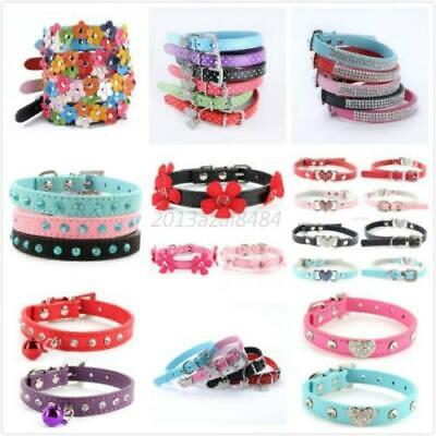 Adjustable Small Pet Dog PU Leather Collar Puppy Cat Buckle Neck Strap Pet US
