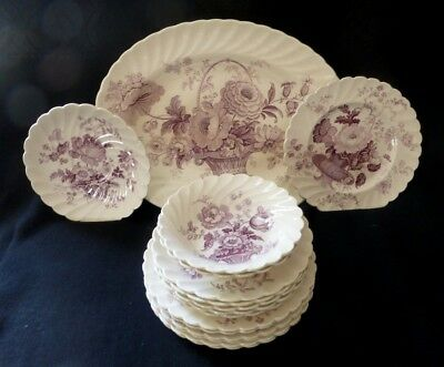Clarice Cliff Royal Staffordshire England Charlotte Mulberry China Lot Excellent
