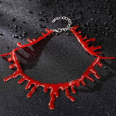Sexy Gothic Punk Blood Red Stitch Choker Halloween Party Handmade Necklace I1XGZ