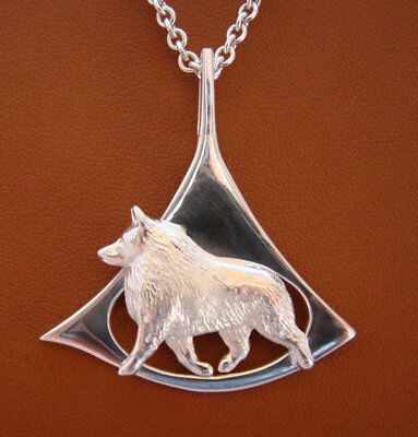 Large Sterling Silver Schipperke Moving Study On A Free Form