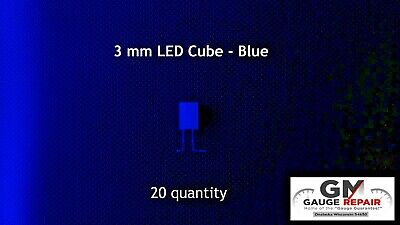 20 qty 3mm Blue Cube LED Lights S Scale Buildings No Resistor Needed 6v to 12v