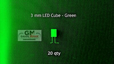 20 qty 3mm Green Cube LED Lights S Scale Buildings No Resistor Needed 6v to 12v