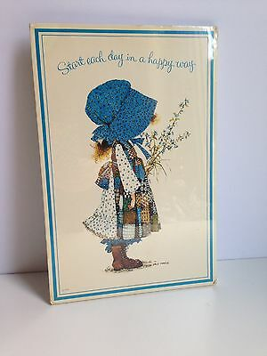"""Vintage 1975 HOLLY HOBBIE Wooden Wall Art Plaque 12x8""""  - SEALED!"""