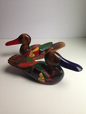 Pair of Vintage Carved Wooden Ducks - Hand Painted