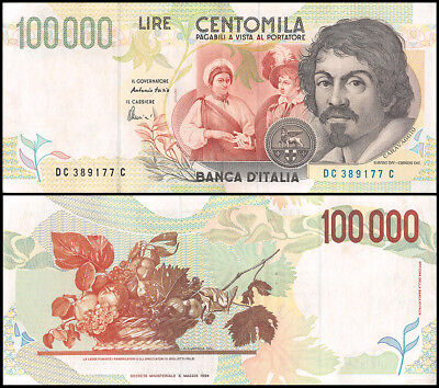 Italy 100,000 (100000) Lire, 1994, P-117b, CIRCULATED, USED