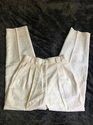 Vntg 80s Cream High Waisted Pleated Trousers Size Small/medium
