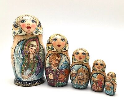 "Russian Nesting Doll Hand Carved Hand Painted FAIRY TALE ""Tzar Saltan"""