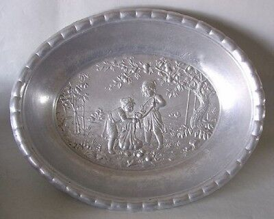 Antique Victorian ALUMINUM Oval BOWL Apple Pickers