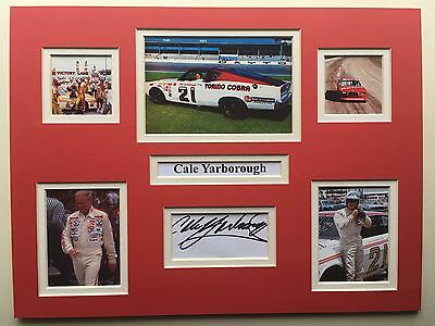 "NASCAR Cale Yarborough Signed 16"" X 12"" Double Mounted Display"