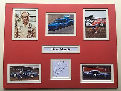 "NASCAR Dave Marcis Signed 16"" X 12"" Double Mounted Display"