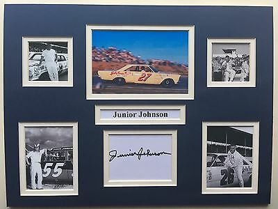 "NASCAR Junior Johnson Signed 16"" X 12"" Double Mounted Display"