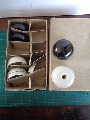 Vintage electrical fittings Lot 8  Ceiling roses; 3 brown, 3 white, retro decor