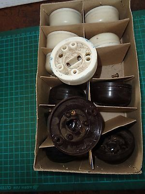 Vintage electrical fittings Lot 1 Ceiling Roses; 6 white, 6 walnut, retro decor