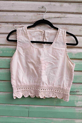 Hand embroidered crochet calico vintage floral peasant blouse top