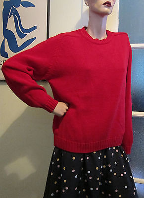 1980's Red Jumper, Oversized Sweater by 'St Johns Bay' Size Medium, Vintage
