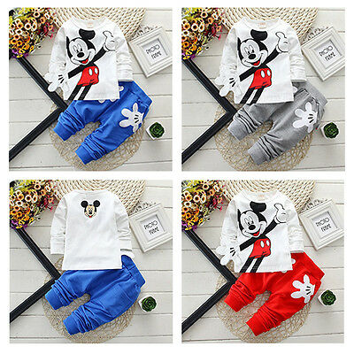 2pcs Boy Girl Clothes Kids Baby Top T-shirt+Pants Set Tracksuit Outfit Trousers