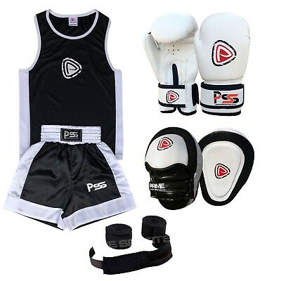 Kids Boxing Set of 4 Boxing Uniform + Boxing Glove 1004 + Focus Pad 1103 + Wrap