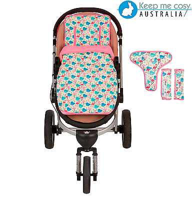 Keep Me Cosy™ Pram Liner + Footmuff + FREE Harness & Buckle Cosy - Pink Flamingo