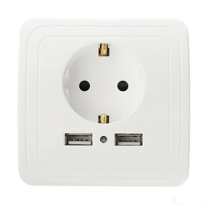 USB Port Electric Wall Charger Station Socket Adapter Power Outlet EU Plug Dual