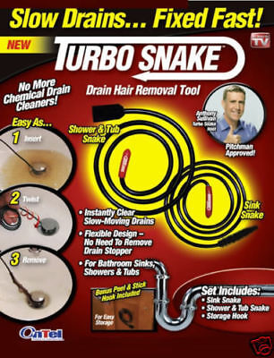 As Seen on TV Snake Slow Drain Fixed Fast Pipe obstruction Removal Turbo tool