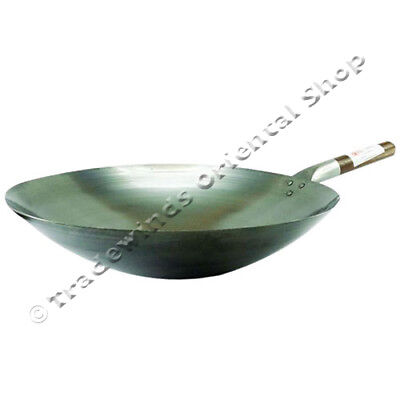 "Hancock London Wok 16"" (40Cm) Round Based Carbon Steel Wok - Commercial Quality"