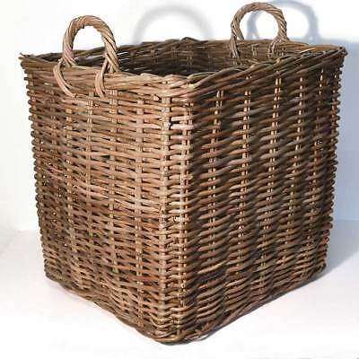 Fireside Square Large Log Basket Wicker Rattan Stove Wood Toy Storage - Brown