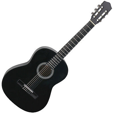 Classical Acoustic Guitar Nylon Strings Size 3/4 Rosewood Fingerboard Black