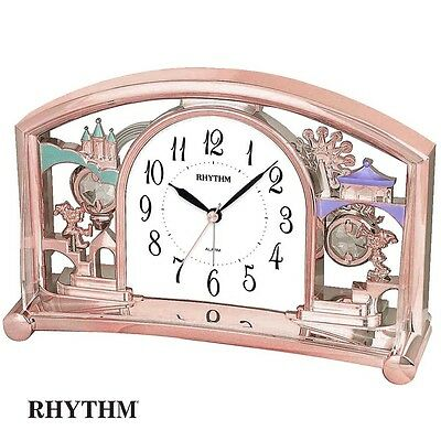 Rhythm 7535/18 Table Clock Quartz with Pendulum Rosa Rose Gold Colors with