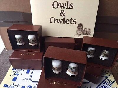 Quality China Thimble Collectors Club Set Trevor Boyer Bird Artist Owls Owlets