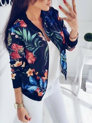 Fashion Women's Retro Floral Zipper Bomber Jacket Baseball Casual Coat Outwear