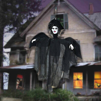 New Life Size Hanging Animated Talking Witch Halloween Haunted House Prop Decor