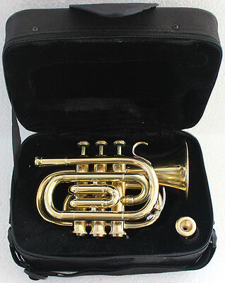 Dx Pocket Trumpet 3V Pro Shinning Brass with Mouth Piece n Case Fast Ship