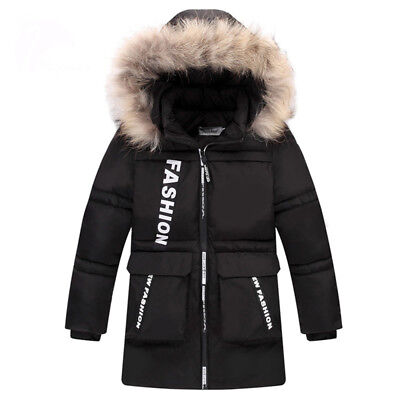 Kids Winter Jacket For Boys Fur Collar Hooded Warm Down Coat Long Parka Fashion