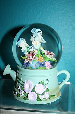 Watering Can with Floral Arrangement Musical Rotating Waterglobe