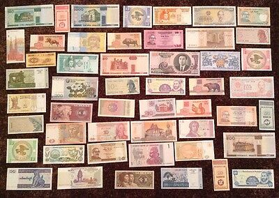 World Banknote Collection. Lot Of 48 Notes. All Different. All Uncirculated.