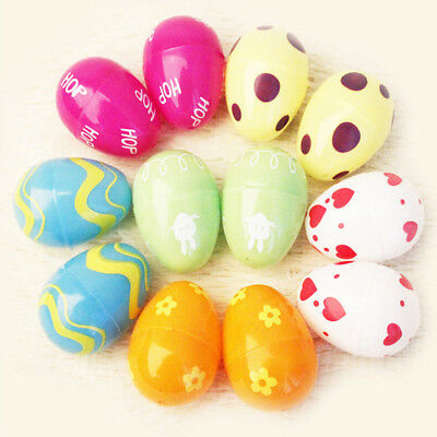 12Pcs Multicolor Plastic Empty Easter Eggs Home Decor Children Toy Gift Welcome