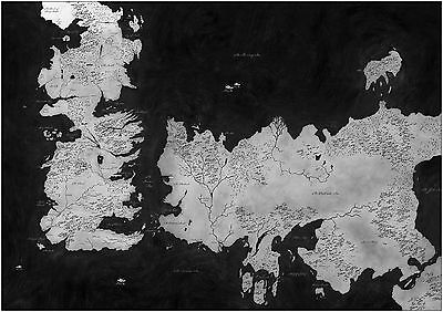 Game Of Thrones Westeros Map Giant Poster Art Print Black & White Card / Canvas